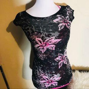 2 top bundle beautiful floral top with pink shirt
